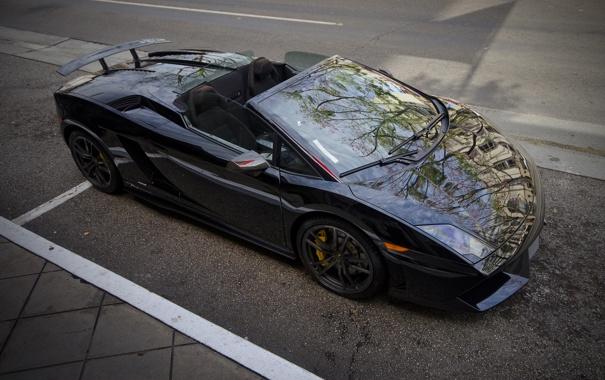 Фото обои черный, Lamborghini, Gallardo, black, ламборгини, LP570-4, гайярдо