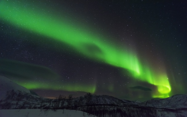 Фото обои зима, небо, звезды, снег, горы, ночь, сияние