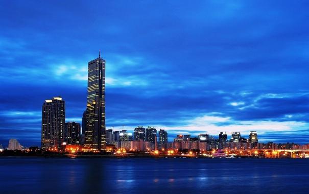 Фото обои огни, небоскребы, Сеул, Seoul, Южная Корея