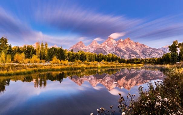 Фото обои лес, небо, природа, река, гора