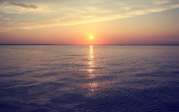 Фото обои море, солнце, закат, река, Вода