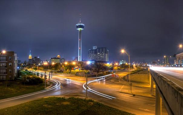 Фото обои ночь, мост, огни, дороги, башня, дома, фонари