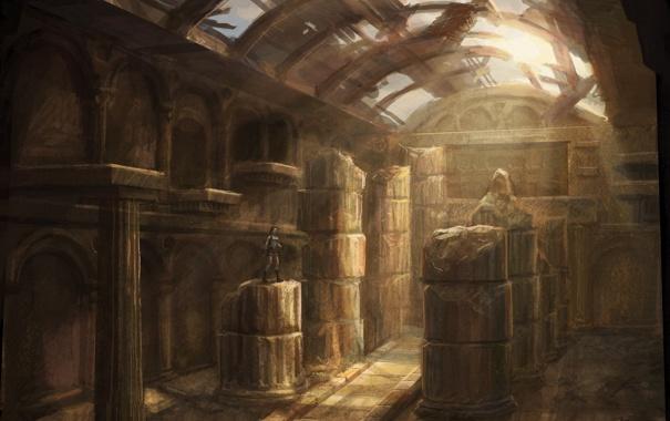 Фото обои свет, здание, арт, развалины, lara croft, tomb raider, лара крофт