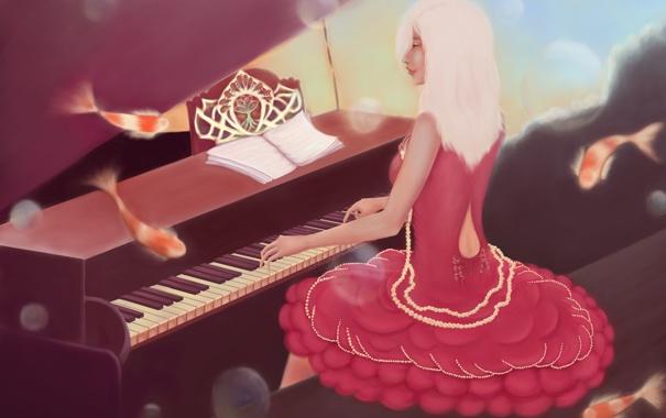 Фото обои девушка, рыбки, музыка, платье, арт, пианино, живопись