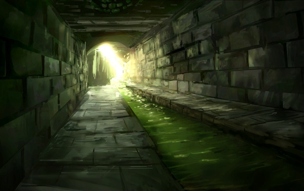 Фото обои кладка, туннель, вода, речка, канализация, камень, солнечные лучи