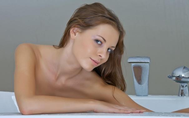 Фото обои девушка, блондинка, ванна, милашка