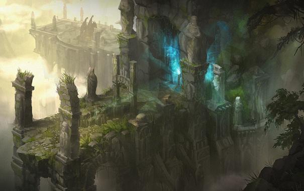 Фото обои магия, дракон, здание, свечение, арт, храм, руины