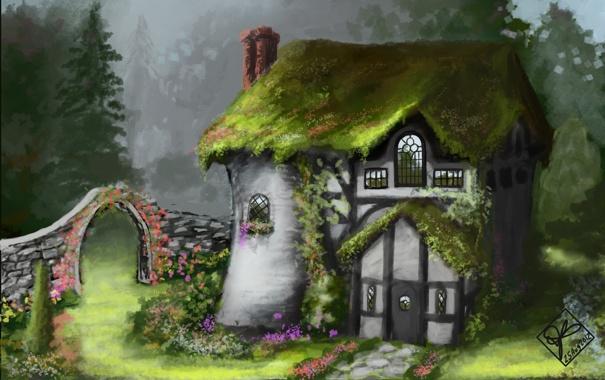 Фото обои зелень, цветы, дом, сад, арт, арка