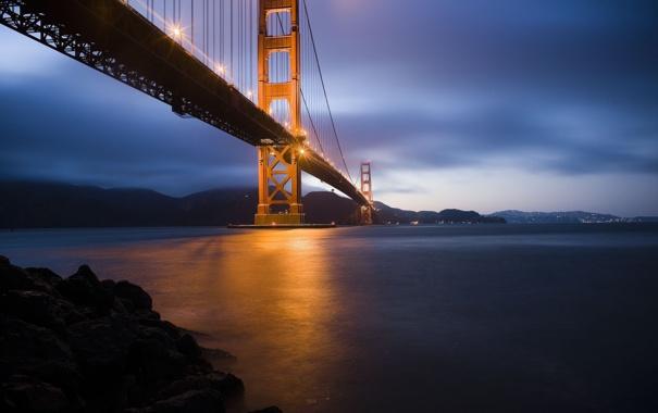 Фото обои море, ночь, мост, город, огни, вечер, сан-франциско