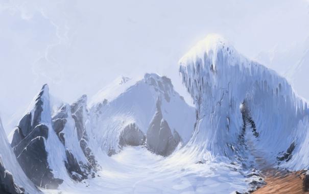 Фото обои дорога, снег, горы, скалы, вершины, сосульки, арт