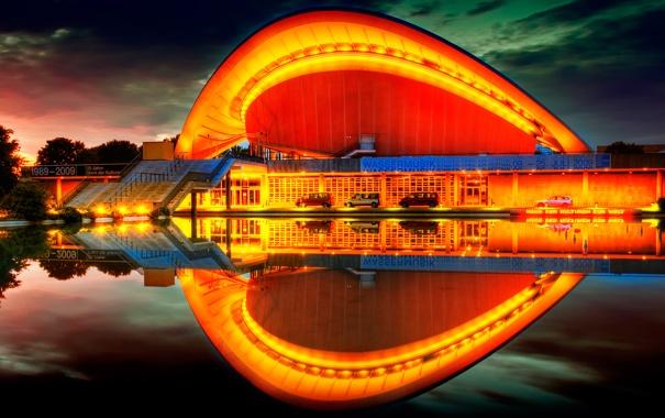 Фото обои лето, закат, германия, берлин, Дом культур мира