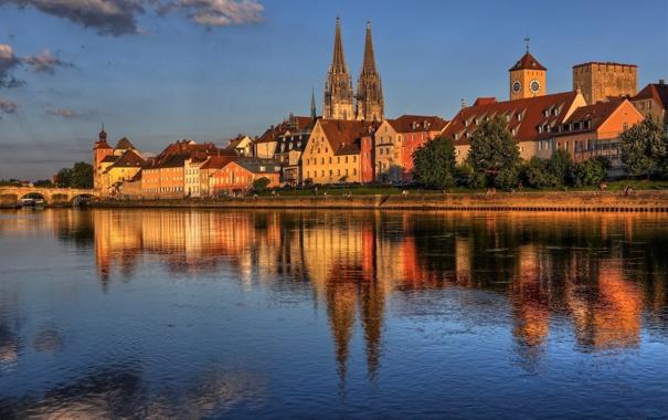 Фото обои вода, отражение, Германия, Регенсбург