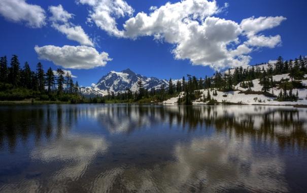 Фото обои облака, горы, небо, озеро