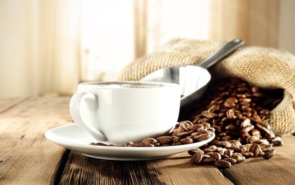 Фото обои кофе, мешок, кофейные зерна, лопатка