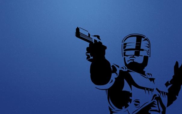 Фото обои пушка, синий фон, RoboCop, Ро́бот-полице́йский