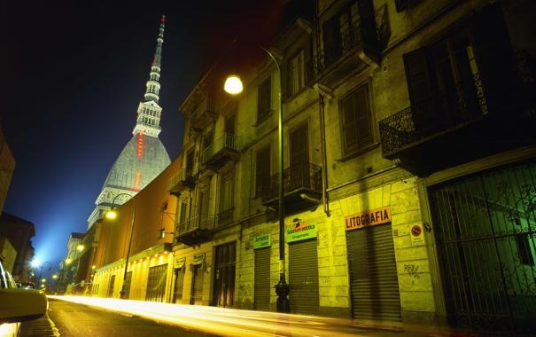 Фото обои огни, здания, Турин, Torino