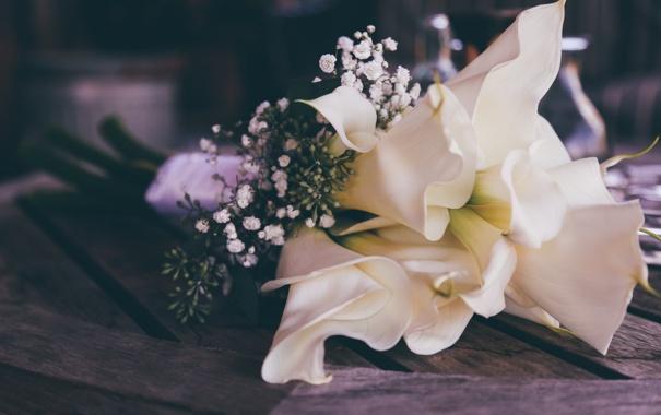 Фото обои букет, каллы, свадебный