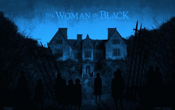 Фото обои ночь, дом, забор, призраки, особняк, The Woman in Black, Женщина в черном