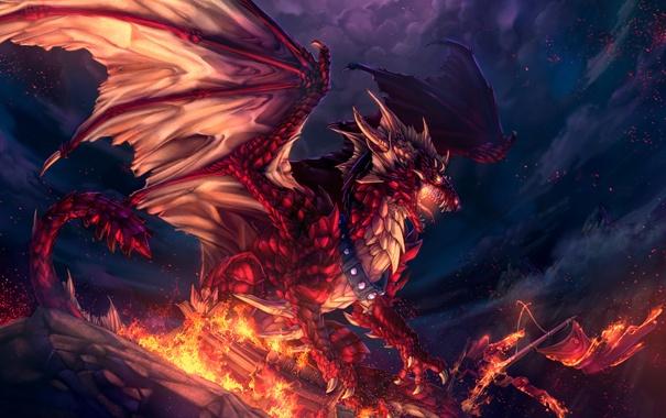 Фото обои красный, дракон, лавовый
