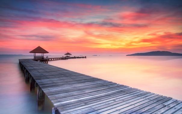 Фото обои sea, sunrise, pier, wooded bridge