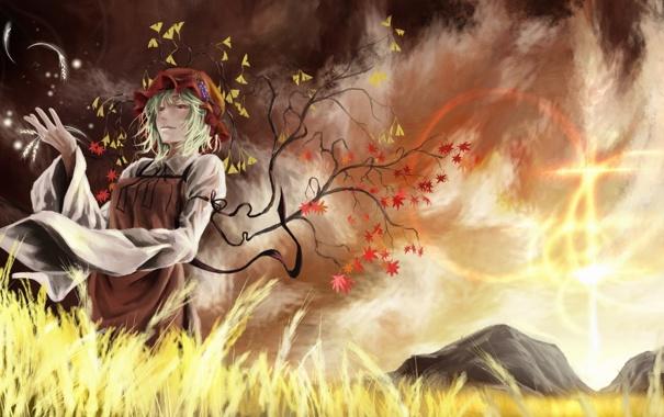 Фото обои поле, небо, девушка, дерево, ветер, листва, платье