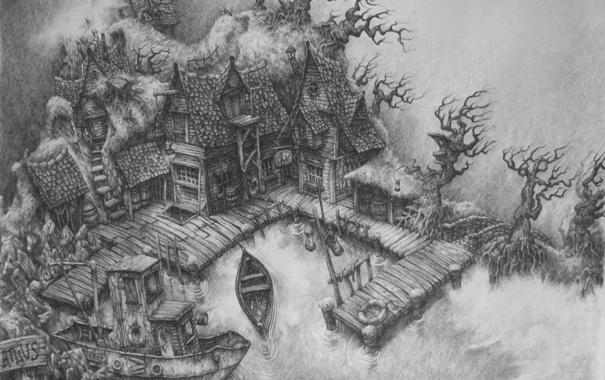 Фото обои дом, лодка, рисунок, причал, карандаш, мрачно