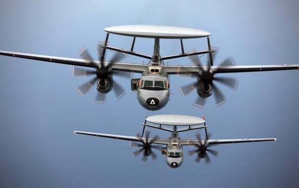 Фото обои полет, самолеты, пара, Hawkeye, дальнего, палубные, обнаружения
