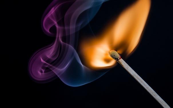 Фото обои макро, огонь, спичка