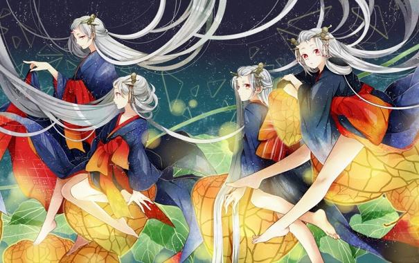 Фото обои небо, звезды, девушки, волосы, аниме, арт, кимоно