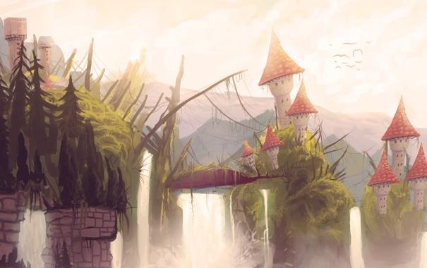 Фото обои птицы, дома, арт, водопады, нарисованный пейзаж