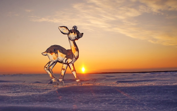 Фото обои скульптура, лёд, закат, оленёнок, солнце, зима, снег