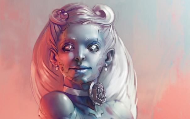 Фото обои взгляд, девушка, лицо, роза, робот, прическа