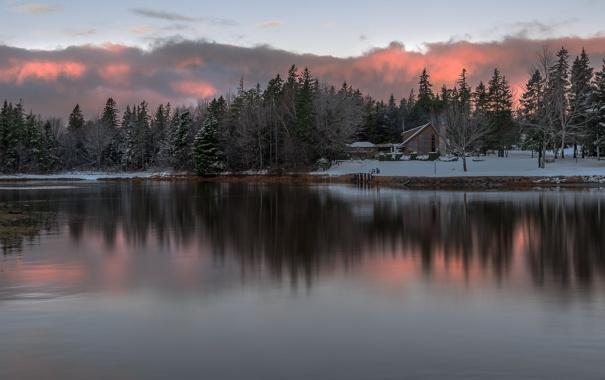 Фото обои зима, снег, деревья, река, river, trees, winter