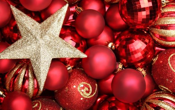 Фото обои зима, шарики, шары, игрушки, звезда, Новый Год, Рождество