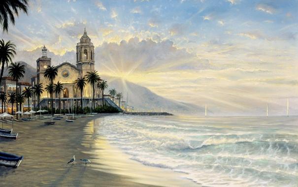 Фото обои море, закат, город, пальмы, берег, чайки, лодки