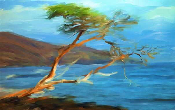 Фото обои море, небо, пейзаж, горы, дерево, рисунок, картина