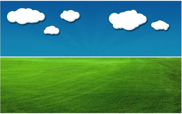 Фото обои небо, облака, луг, травка