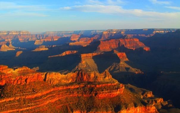 Фото обои закат, горы, каньон, Аризона, США, grand canyon national park
