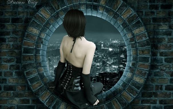 Фото обои девушка, ночь, город, окно, кирпичи, sity, fiction