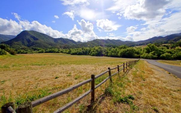Фото обои дорога, поле, пейзаж