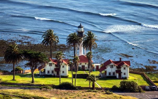 Фото обои пейзаж, берег, дома, море