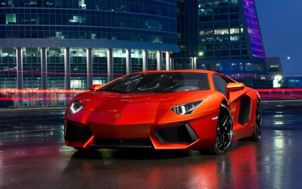 Фото обои ночь, здания, Lamborghini, Ламборджини, красная, Aventador