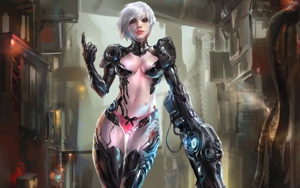 Фото обои девушка, металл, оружие, робот, арт