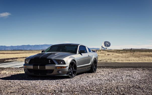 Фото обои дорога, небо, горы, Mustang, Ford, Shelby, GT500