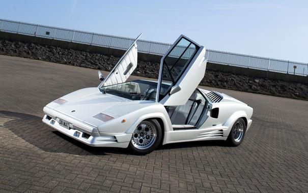 Фото обои car, Lamborghini, двери, ламбо, white, Countach, 1988