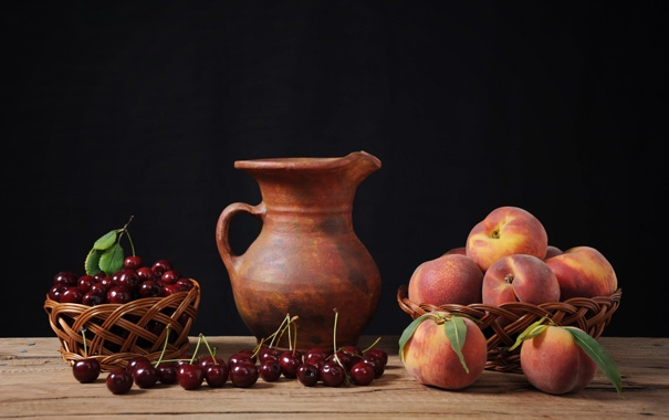 Фото обои стол, кувшин, персики, черешня, корзинки