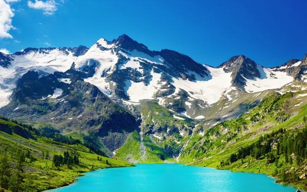 Фото обои снег, горы, озеро