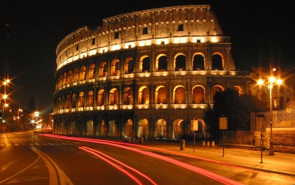 Фото обои город, огни, вечер, фонари, архитектура, колизей, италия