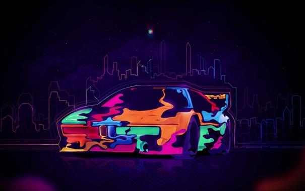 Фото обои машина, авто, эскиз, разноцветная, красочно