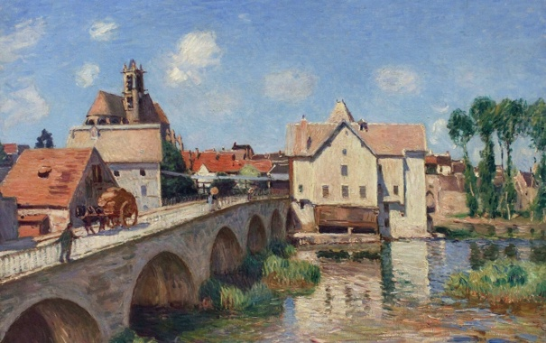 Фото обои пейзаж, мост, город, река, картина, Alfred Sisley